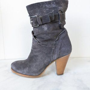 Geox Respira Shiny Suede Leather Booties Size 35